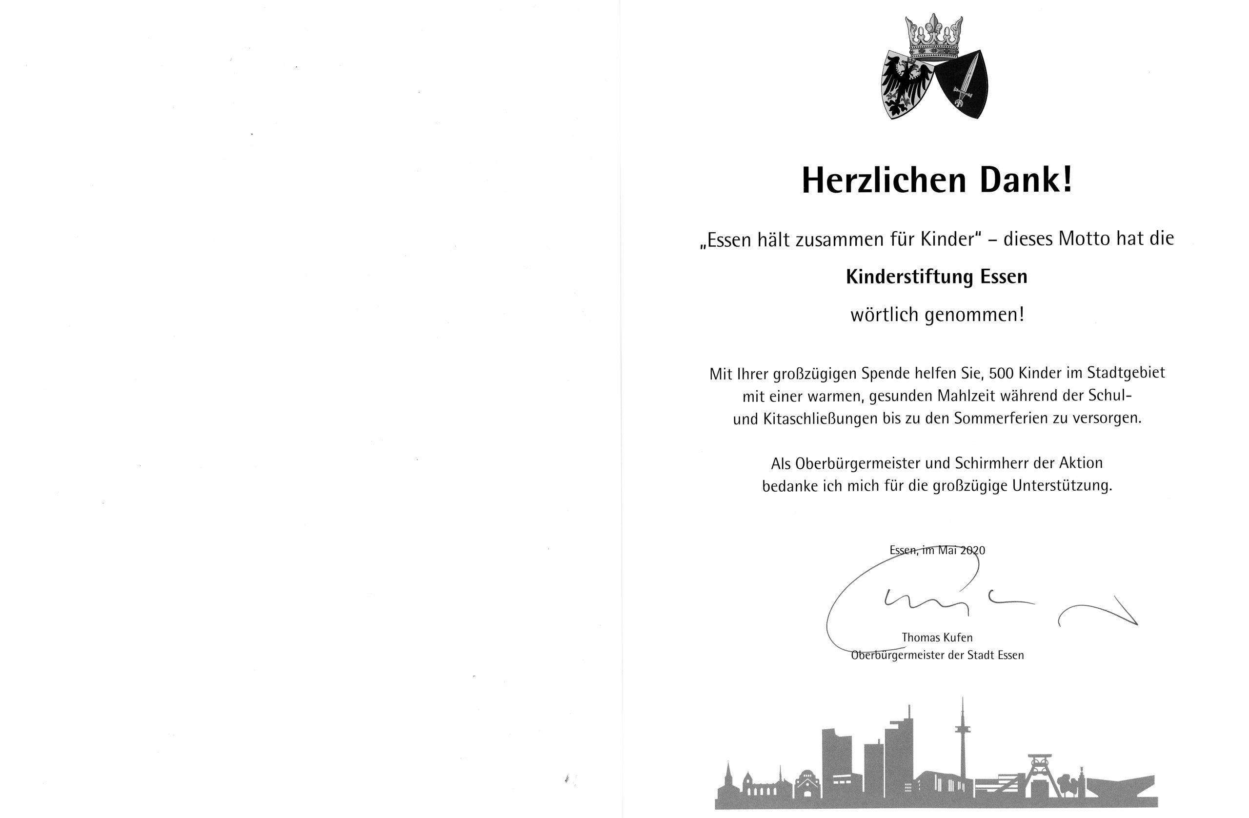 Foto: Urkunde der Stadt Essen