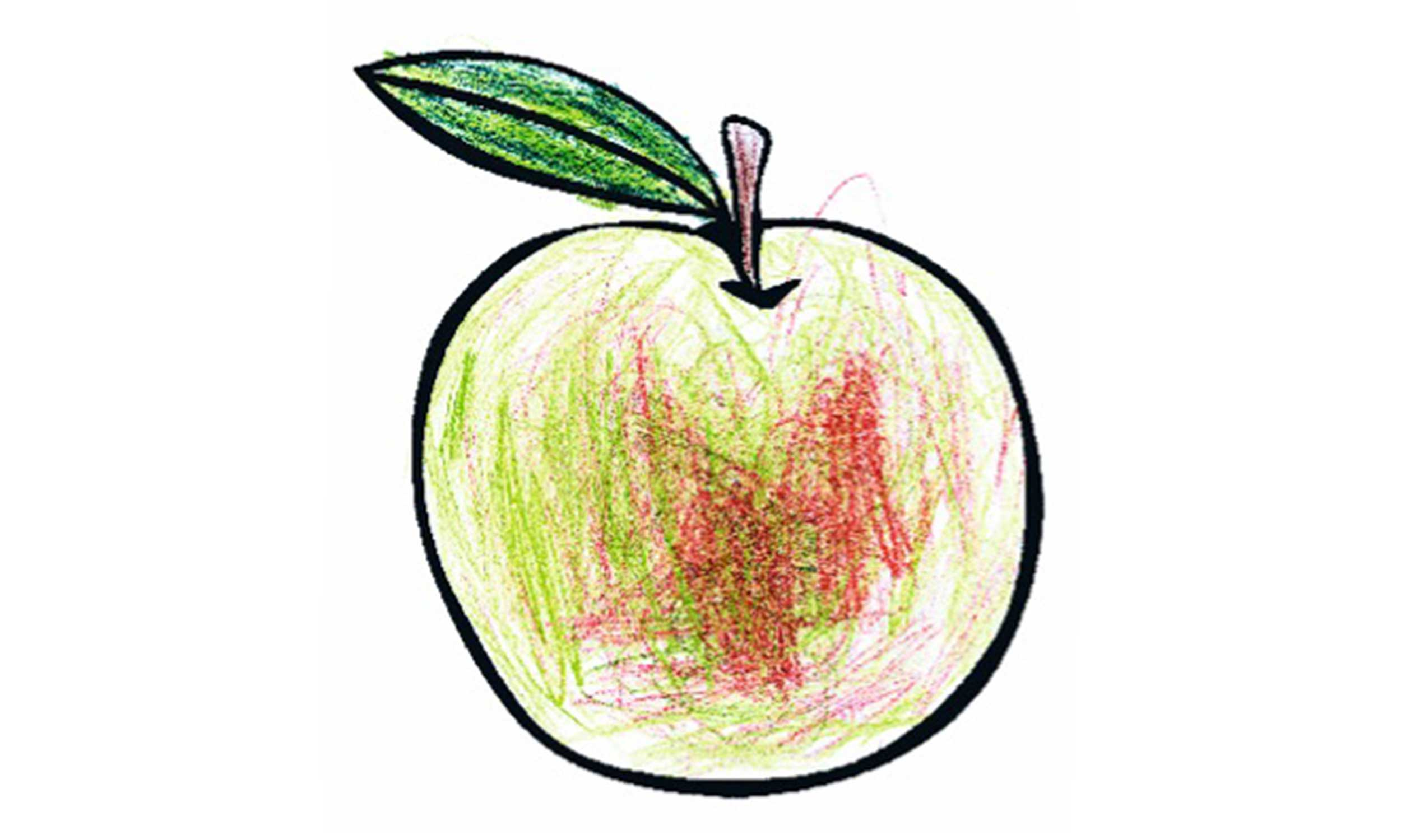 Apfelmotiv als Ausmalbild